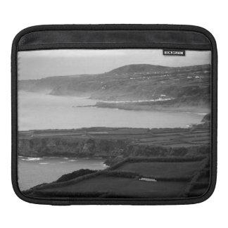 Black and white coastal landscape iPad sleeve