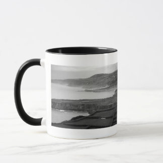 Black and white coastal landscape mug