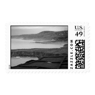 Black and white coastal landscape postage