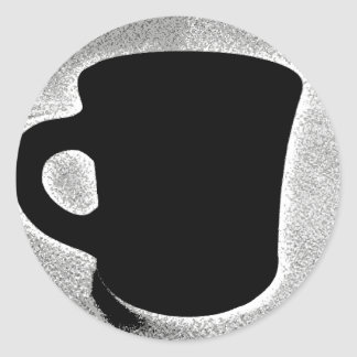 Black and White Coffee Cup Sticker