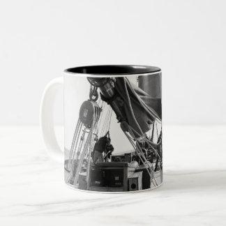 Black and white coffee mug with black interior