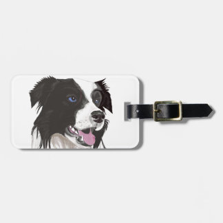 black and white collie blue eyes bag tag