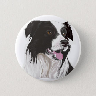 Black and White Collie with Brown eyes Pinback Button
