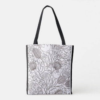 black and white color me  pattern doodles tote bag