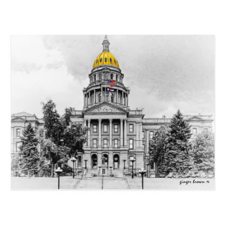 Black and White, Colorado State Capitol Bldg #2 Postcard