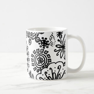 Black and White Coloring Flower Doodles Coffee Mug