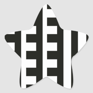 Black and White Combs Tooth Star Sticker