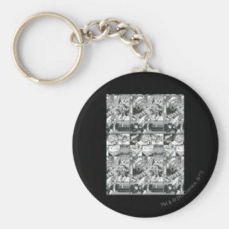 Black and White Comic Pattern Keychain