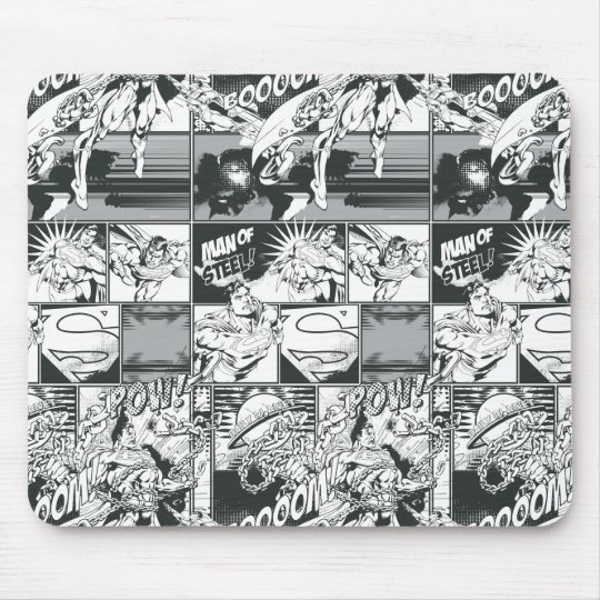 Black and White Comic Pattern Mouse Pad