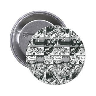 Black and White Comic Pattern Pinback Button