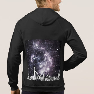 Black and White Comic Style City Skyline & Stars Hooded Pullovers