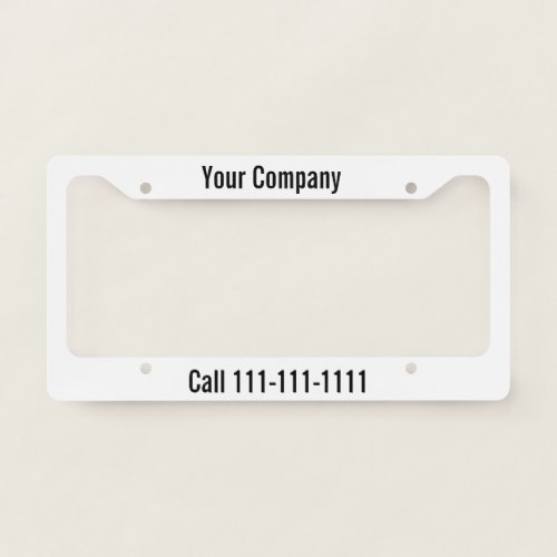 Black and White Company Advertisement License Plate Frame