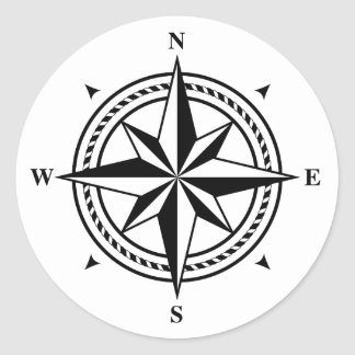 Black and white compass rose postage stamp classic round sticker