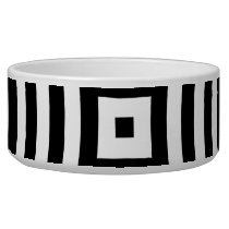 Black and White Concentric Circles Pattern Bowl