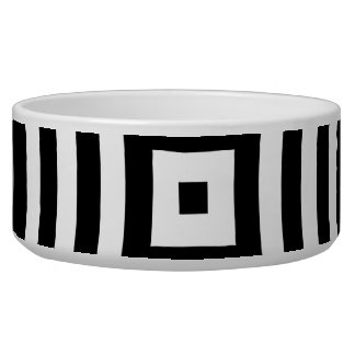 Black and White Concentric Circles Pattern Dog Food Bowls