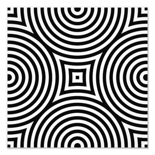 Black and White Concentric Circles Pattern Photo Print