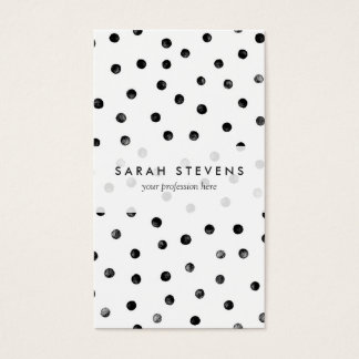 Black And White Confetti Dots Business Card