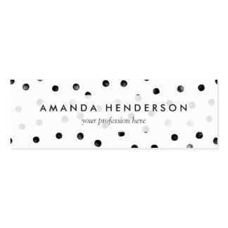 Black And White Confetti Dots Mini Business Card