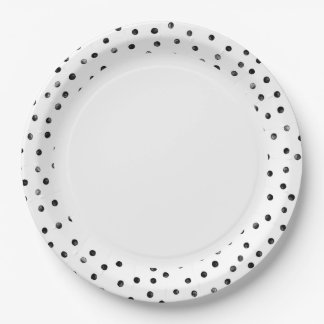 Black And White Confetti Dots Paper Plate