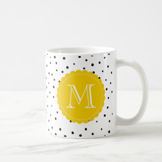 Black and White Confetti Dots Yellow Monogram Mug