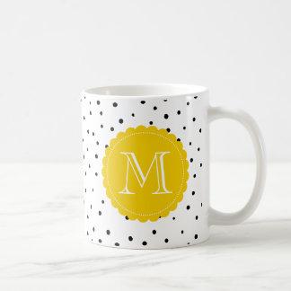 Black and White Confetti Dots Yellow Monogram Mug