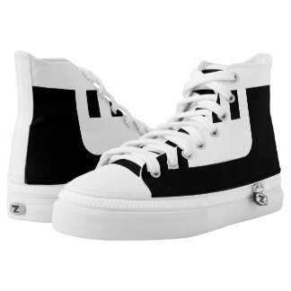 Black and White Confined Fashionable Hi-Top Printed Shoes