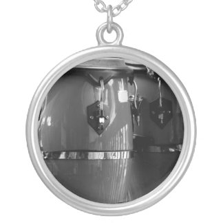 Black and white conga drums photo round pendant necklace