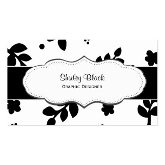 Black and White Contemporary Leaf Pattern Business Card