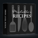 """Black and white cooking utensil recipe binder book<br><div class=""""desc"""">Personalized black and white cooking utensil recipe binder book Custom cookbook with spoon, knife, whisk, spatula and personalizable color plus name. Cute personalized baking / cooking gift idea for women; ie mom, mother, mother, aunt, wife, sister, grandma, chef, friend, daughter, girlfriend, mama, grandmother etc. Country chic design with kitchen equipment...</div>"""