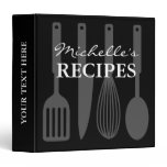 Black and white cooking utensil recipe binder book<br><div class='desc'>Personalized black and white cooking utensil recipe binder book Custom cookbook with spoon, knife, whisk, spatula and personalizable color plus name. Cute personalized baking / cooking gift idea for women; ie mom, mother, mother, aunt, wife, sister, grandma, chef, friend, daughter, girlfriend, mama, grandmother etc. Country chic design with kitchen equipment...</div>