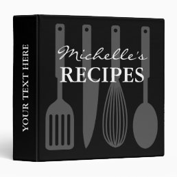 Black and white cooking utensil recipe binder book