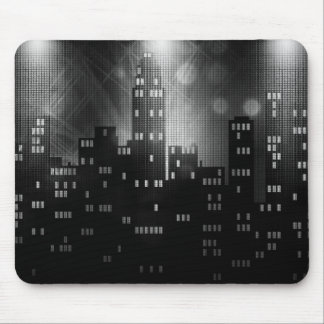 Black and white cool city skyline mouse pad