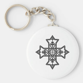 Black and White Coptic Cross Basic Round Button Keychain