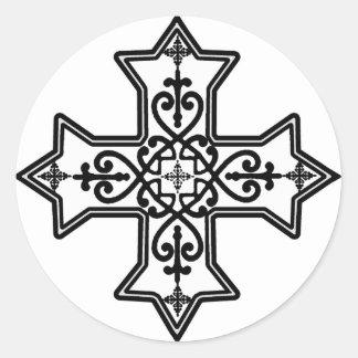Black and White Coptic Cross Round Stickers