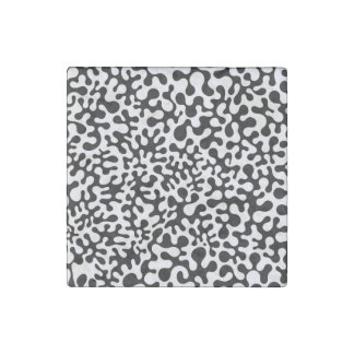 Black and White Coral Blots Stone Magnet