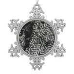 Black and White Coral I Abstract Nature Photo Snowflake Pewter Christmas Ornament