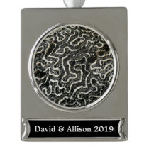 Black and White Coral II Abstract Nature Photo Silver Plated Banner Ornament