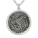 Black and White Coral II Abstract Nature Photo Silver Plated Necklace