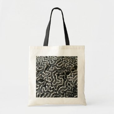 Beach Themed Black and White Coral II Abstract Nature Photo Tote Bag