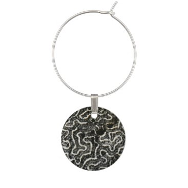 Beach Themed Black and White Coral II Abstract Nature Photo Wine Glass Charm