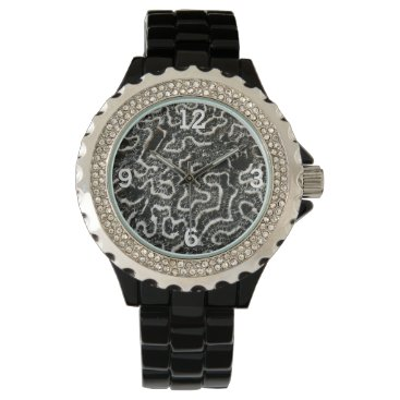Beach Themed Black and White Coral II Abstract Nature Photo Wrist Watch