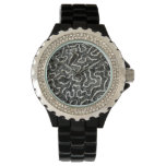 Black and White Coral II Abstract Nature Photo Wrist Watches