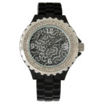 Black and White Coral II Abstract Nature Photo Wristwatches