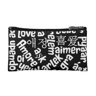 Black and white cosmetic bag with love - languages