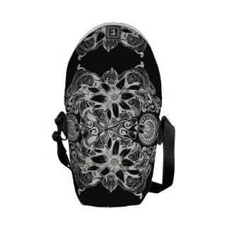 Black and White Cosmic Flower Pattern Courier Bag