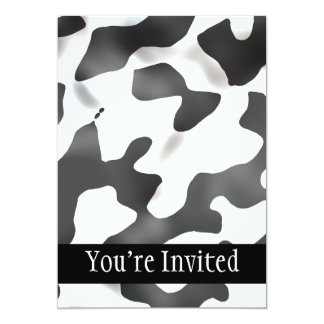 Black And White Country Cow Pattern 5x7 Paper Invitation Card
