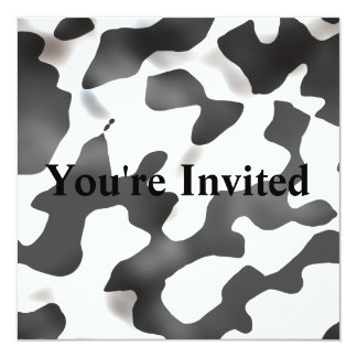 Black And White Country Cow Pattern 5.25x5.25 Square Paper Invitation Card