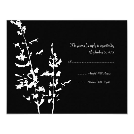 Black and White Country Floral Wedding RSVP Card