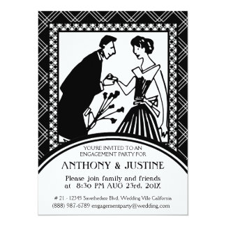 Black and White Couple Clipart Engagement Party Card