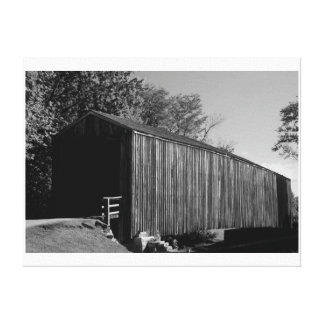 Black and white Covered Bridge Canvas Print
